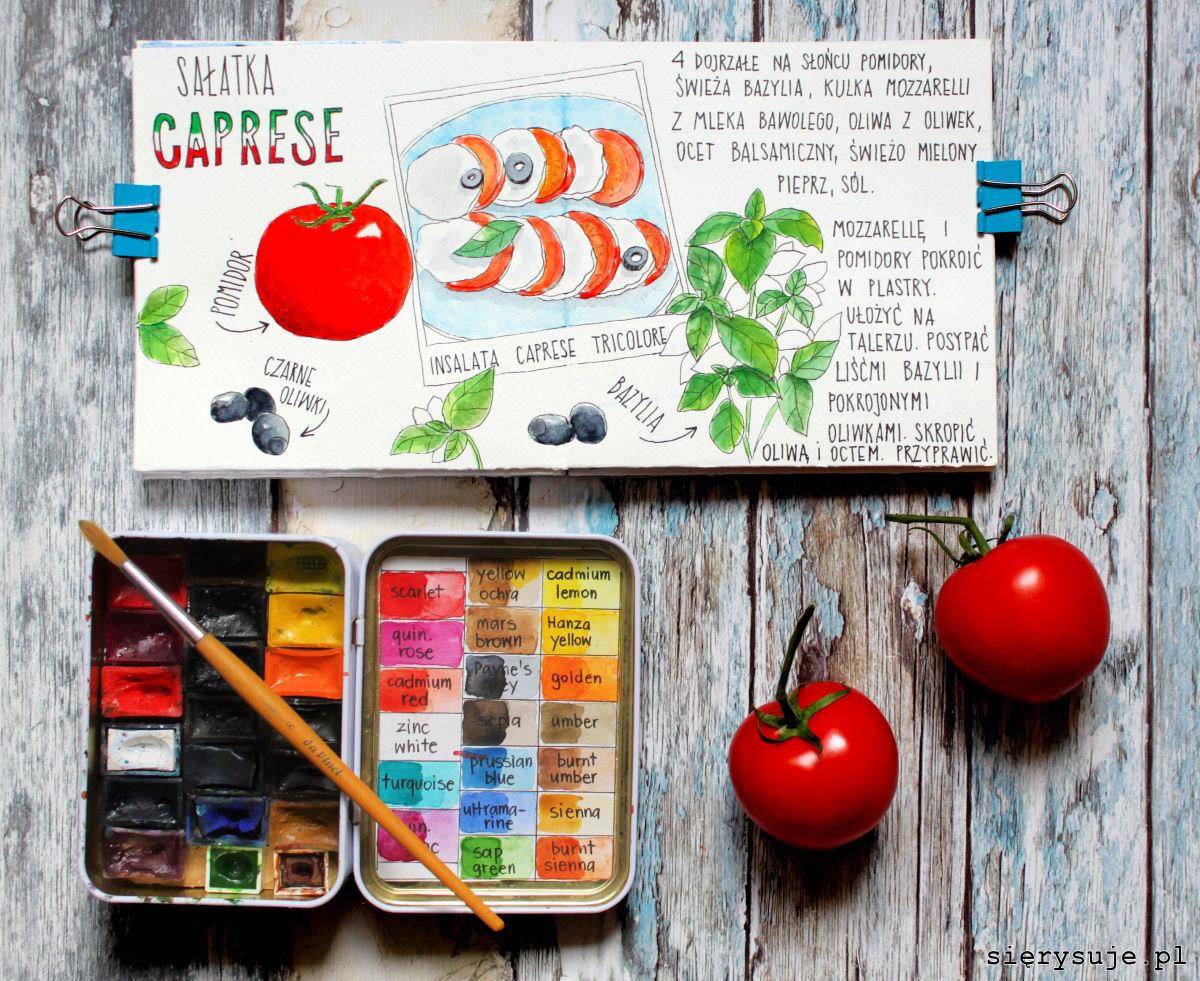 sierysuje.pl - jak namalować pomidora - sałatka caprese