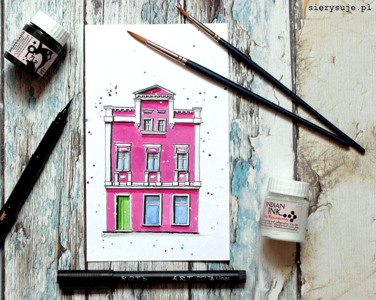 sierysuje.pl jak narysować budynek akwarelami