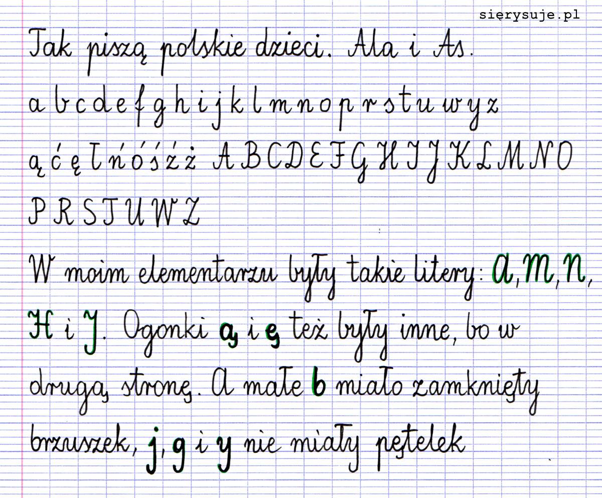 sierysuje.pl polskie pismo szkolne