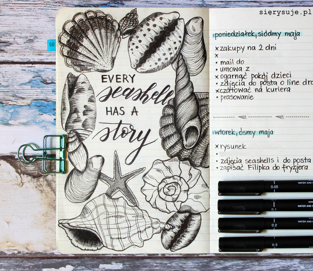 sierysuje.pl line drawing rysunki bujo bullet journal