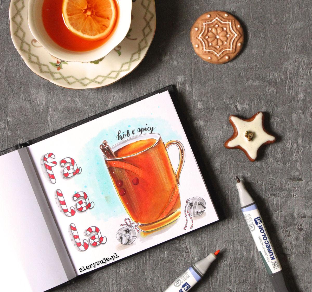 sierysuje.pl jak rysować napoje markerami herbata