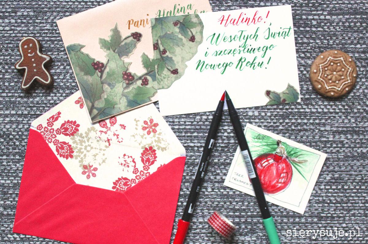 sierysuje.pl jak ładnie ozdobić kopertę z życzeniami świątecznymi