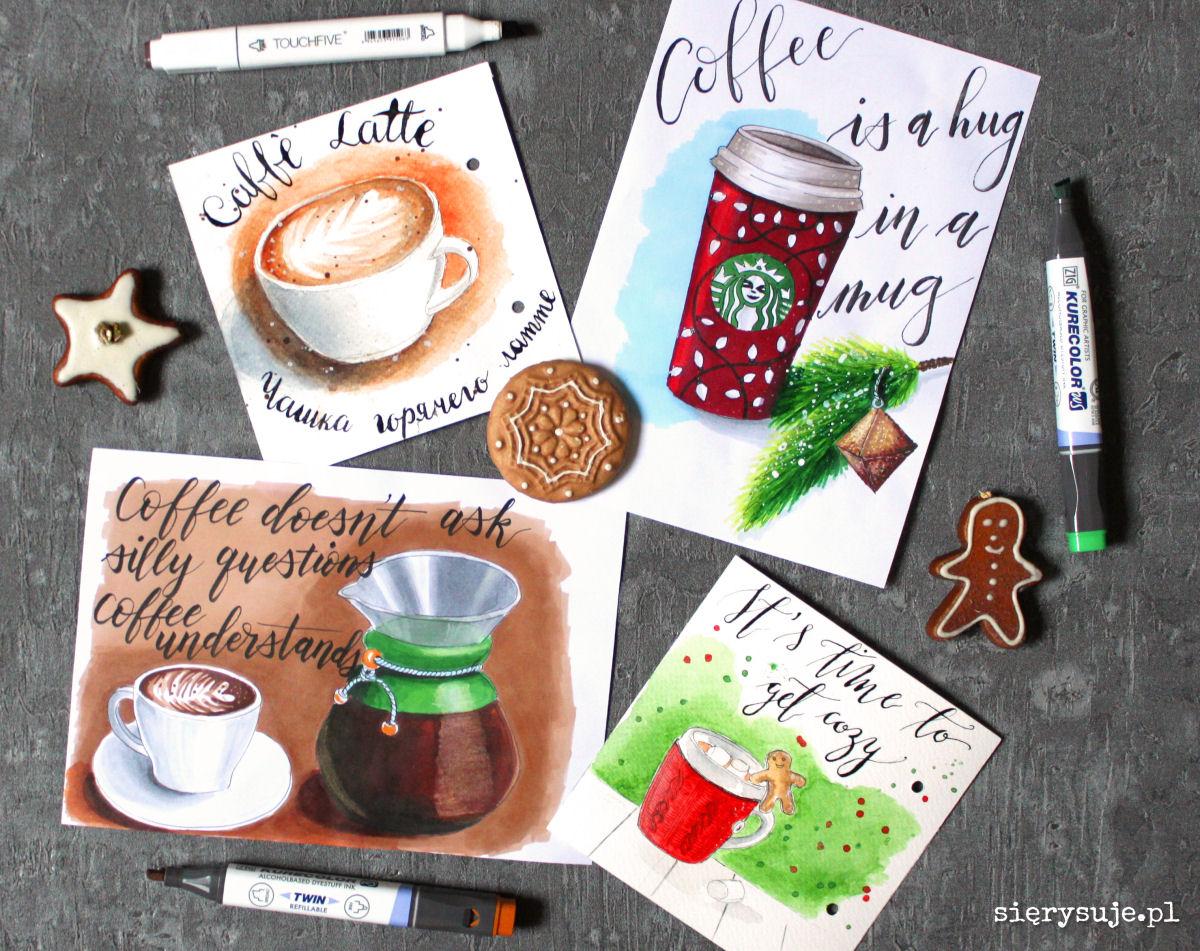 sierysuje.pl zimowe napoje markerami kawa