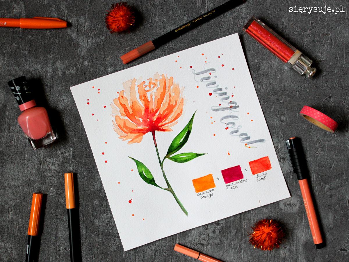 sierysuje.pl akwarele kwiat kolor roku pantone