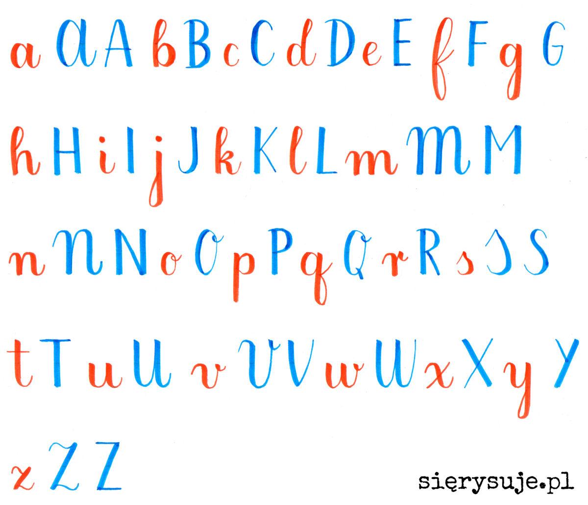 sierysuje.pl duże litery w kaligrafii alfabet