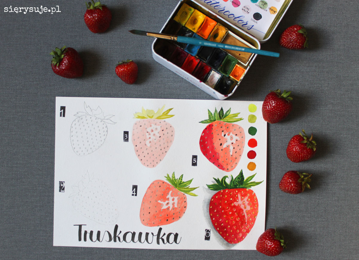 sierysuje.pl jak namalować truskawki akwarelami