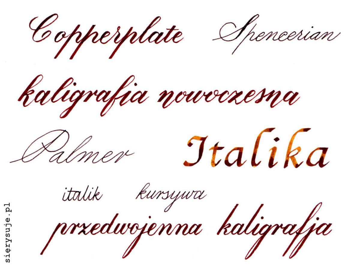 sierysuje.pl kąt pochylenia pisma kaligrafia