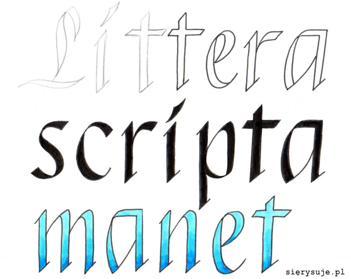 sierysuje.pl oszukana kaligrafia tutorial faux calligraphy