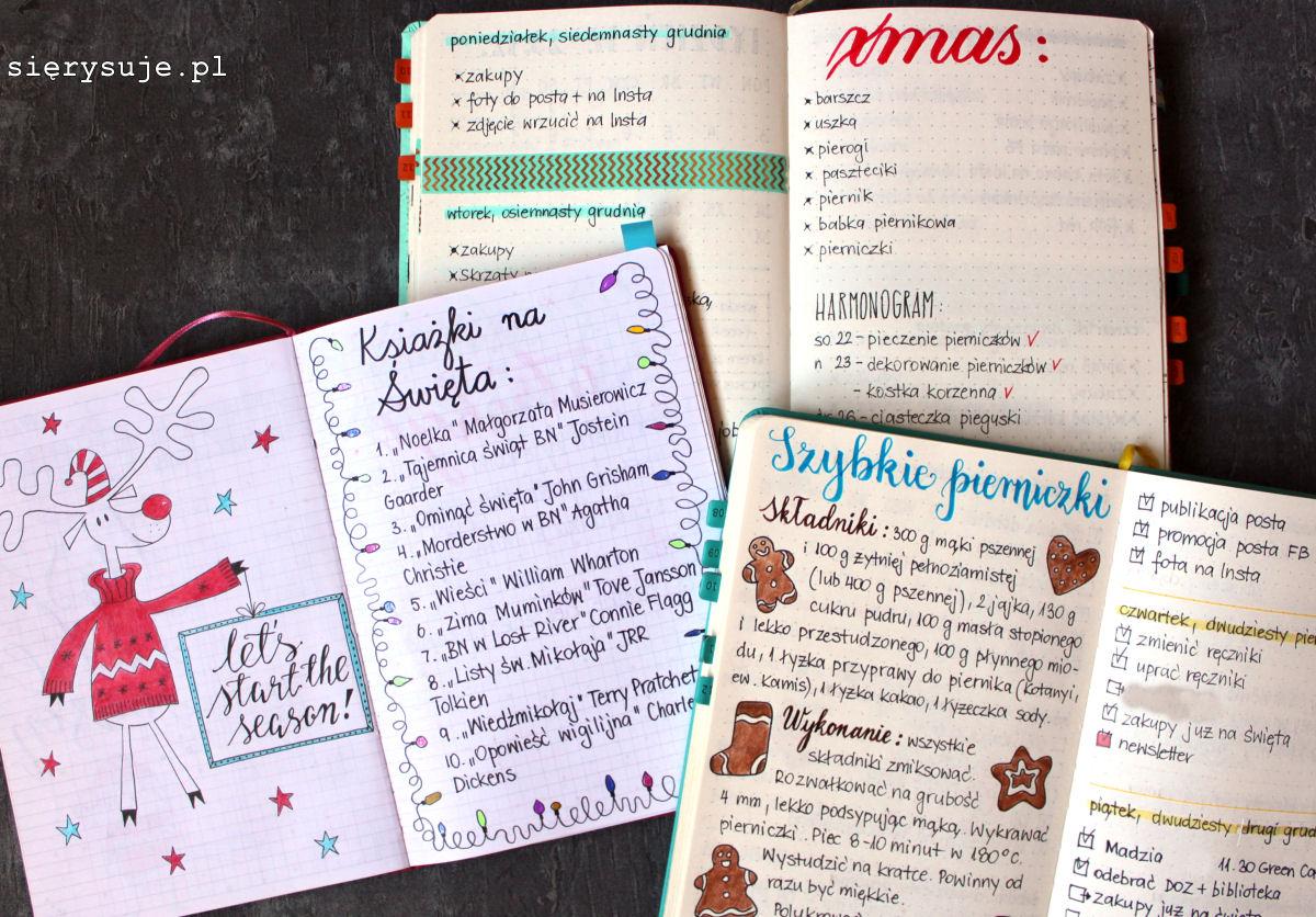 sierysuje.pl Boże Narodzenie planer bujo bullet journal